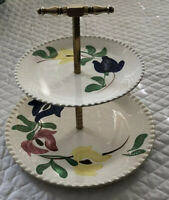 Vintage Blue Ridge Southern Potteries USA Tidbit tray Two Plates Painted Flowers