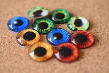 5 Pairs Eyes 10 pcs Glass Domed Round, cabochon, Flat back mix pattern set -10mm