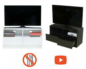 BuildRapido TV Unit Stand 2 Drawers EASY ASSEMBLY Modern Storage cabinet console