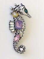 Vintage  crystal seahorse brooch pin gold tone metal