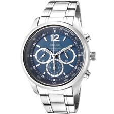 Seiko Chronograph SRW009 SRW009P1 Men 24-Hour Blue Dial Stainless Steel Watch