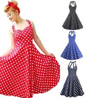 Women Rockabilly Vintage Pinup Polka Dot Swing Housewife Party Midi Dress 50 60s