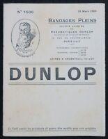 Brochure publicitaire Automobile Pneu DUNLOP 1920 automobilia no Michelin