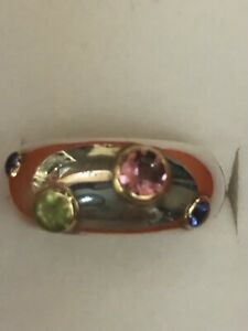 Tiffany & Co Sterling Silver 18k Gold Etoile Gemstone Ring Sz 6.5 Great Price!