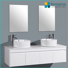 White Gloss Vanity Unit Wall Hung Mounted 1500 Twin Double Ceramic Basins Doors
