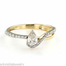 Pear Shape White Engagement Ring in Yellow Gold On 925 Sterling Silver CZ