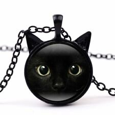 Pendant Necklace Women Men Jewelry Gift Fashion Cubic Cat Animal Glass Time Gem