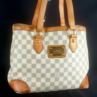 LOUIS VUITTON HAMPSTEAD PM Shoulder Tote Bag Purse Damier Azur N51207