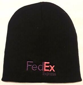 FedEx Express Black Knit Beanie Winter Hat Toque Skull Cap Cuffless 100% ACRYLIC