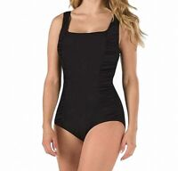 Speedo Women's Swimwear Deep Black Size 8 Solid Ruched Shirred One-Piece $82 223