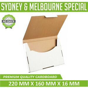 100x White Mailing Box Flat 220x160x16mm Rigid mailer Envelope SuperFlat A5 box