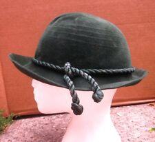 GREEN SUN HAT flapper cap 1960s derby w/ cord Bavarian vtg bowler cloche hat