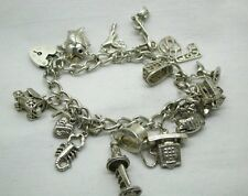 Very Nice Silver Heavy Charm Bracelet  With Heart Padlock And 16 Various Charms
