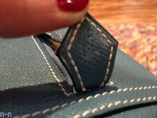 Authentic  HERMES BLUE JEAN leather PLUME BAG 32cm NEW