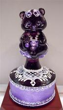 Fenton BEAR on Font AUBERGINE w Lavender Pearl Pinafore OOAK * free USA shipping