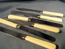 Vintage Produx Stainless Sheffield Steel Knives Ivory Celluoid Handles Set of 6