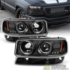 00-06 Sierra Yukon Black Projector Halo Headlights +Bumper Lights Left+Right