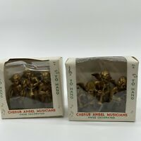 Vtg 7 Plastic Cherub Christmas Ornaments Angels Playing Instrument Gold Color