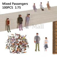 100pcs OO Scale 1:75 Mixed Painted Figure People Models Train Street Passenger !
