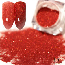 2X Nagel Glitzer Puder Nail Art Glitter Holographische rote Farbe Laser Maniküre