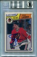 BLACKHAWKS STEVE LARMER signed autographed 1983-84 OPC ROOKIE CARD RC BECKETT