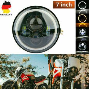Motorrad Scheinwerfer 7'' LED Angel Eye Halo DRL Für DE
