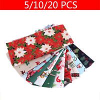 5/10/20Pcs Christmas Style Printed Cotton Fabric DIY Sewing Crafts Random Color
