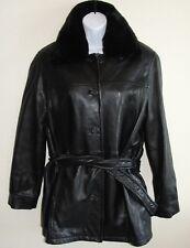 Looks New Womens Danier Jacket Sz 4 6 Black Genuine Leather Coat Faux Fur Collar