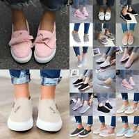 Womens Flats Casual Sneakers Bow Plimsolls Slip On Trainers Pumps Shoes Loafers