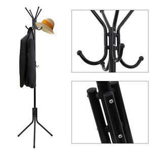 Black Freestanding 8 Hook Hat and Coat Stand Clothes Hanger Hang Room Metal
