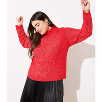 Loft Plus Red Cropped Cable Pullover Turtleneck Sweater Size 20/22 NWT