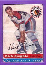1954-55 TOPPS VINTAGE HOCKEY CARD# 1 DICK GAMBLE (CHICAGO BLACK HAWKS)