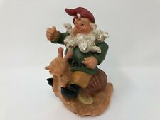 """Mann Gnome Riding on a Snail Figurine Decorative Collectible 4.5"""" Tall Unique"""
