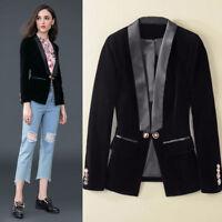 Luxury Designer Women Vintage Slim fit tuxedo Blazer Velvet Jackets Coats S-XL