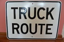 Vintage Old Original Heavy Gage Steel Stamped Truck Route Sign 18X24