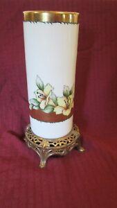 Antique China Porcelain Vase White Floral Cast Metal Base Lilies Art Nouveau