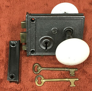 Antique Rim Lock with White Marble Knobs, Two Keys and Striker