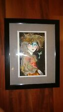 "Cuban Artist Charo Original Signed Oil-Mix  Painting CHAMART ""HAMMING BIRD LADY"""