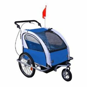 Aosom Elite 360 Swivel 2-In-1 Double Child Two-Wheel Bicycle Cargo Trailer And J