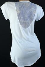 Victoria's Secret Hi Low Sequin Mesh Back Tee Blouse White