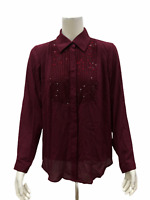 Joan Rivers Women's Tuxedo Blouse with Embellished Detail Wine Small Size