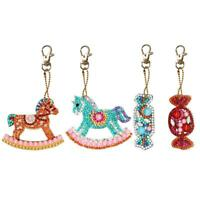 4pcs DIY Full Drill Special Shaped Diamond Painting Horse Keychain Key Ring Gift