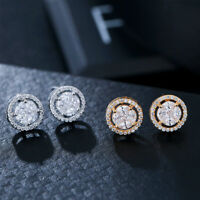 Ladies Charm Crystal 925 Sterling Silver Stud Earrings Fashion Womens Jewellery