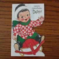 Vintage Merry Christmas Daddy Die Cut Greeting Card Sled Boy 1950s Unused Crafts
