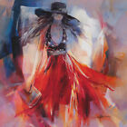 """36W""""x36H"""" SUMMERDRESS by WILLEM HAENRAETS - REDS YELLOWS LADY CHOICES of CANVAS"""