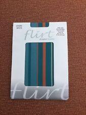 Flirt Blue/Brown/Ivory Candy Stripe Microfibre Footless Tights UK 8-14 BNWT