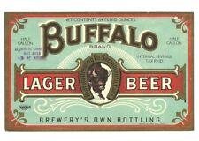 1/2 Gallon Buffalo Beer bottle label, 4%, Irtp, Sacramento, Ca, 1930s-40s, 64 oz