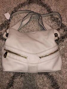 Michael Michael Kors Large Cream Off White Leather Satchel Shoulder Bag Hobo Bag