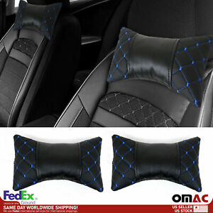 2x Car Seat Neck Pillow Head Shoulder Rest Pad Black with Blue PU Leather