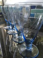 Mid Century Blue Etched Cordial Glass Barware Stemware Set of 4